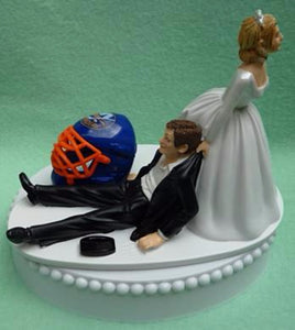 Wedding Cake Topper - New York Islanders Hockey Themed NY