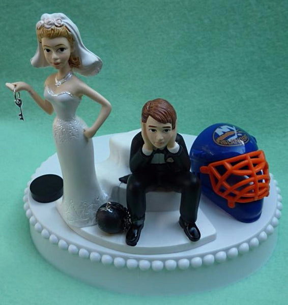 Wedding Cake Topper - New York Islanders Hockey Themed Key NY