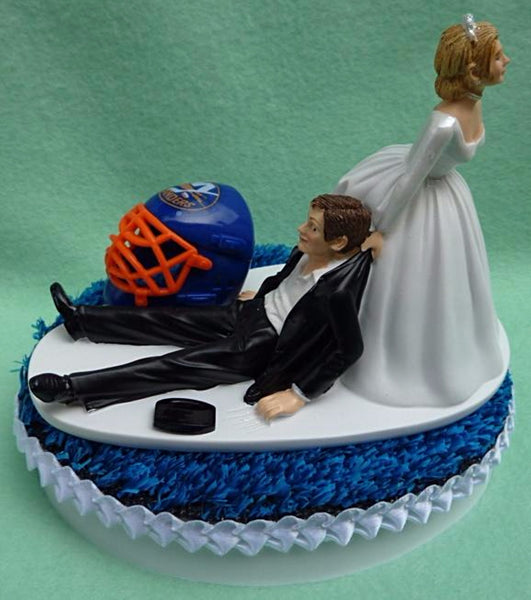 NY Islanders wedding cake topper New York NHL Hockey sports fans groom's cake top bride dragging funny humorous reception Fun Wedding Things
