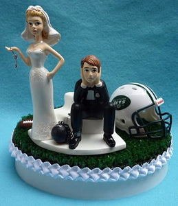 New York Jets wedding cake topper NFL football NY sports fans bride dejected groom ball and chain humorous funny key turf top