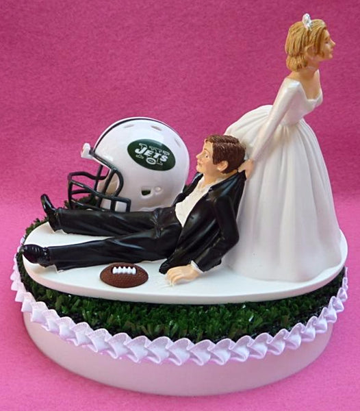 New York Jets cake topper wedding NY football groom's cake top sports fans fun bride dragging groom humorous funny