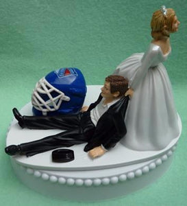 NY Rangers wedding cake topper New York groom's cake top NHL hockey sports fans bride dragging fun humorous funny Reception gift item Fun Wedding Things