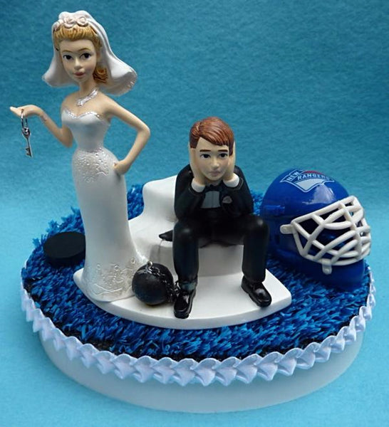 Wedding Cake Topper - New York Rangers Hockey Themed Key NY