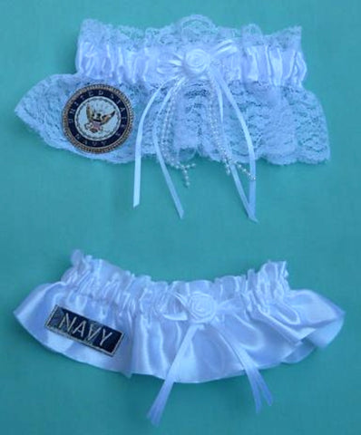 Navy wedding garters U.S. Navy USN bridal garter set enlisted service military reception Fun Wedding Things gift item idea lace satin