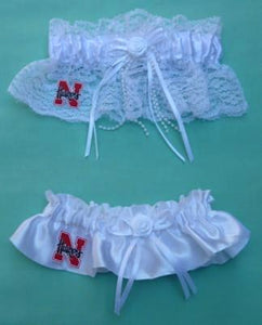 University of Nebraska bridal garter set Cornhuskers Huskers NU wedding garters reception fans toss keepsake Fun Wedding Things