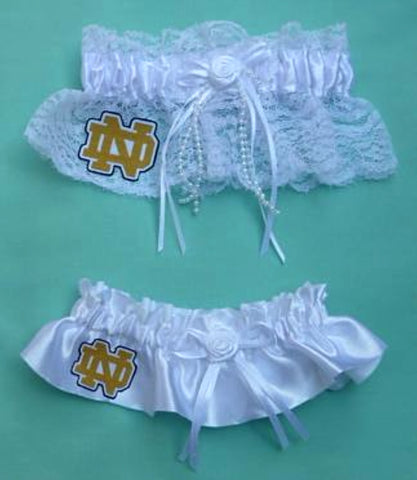 Notre Dame wedding garter set University of Fighting Irish ND bridal garters fans reception toss keepsake Fun Wedding Things