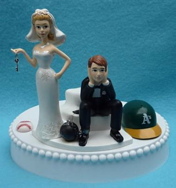 Oakland A's cake topper wedding Athletics MLB baseball bride sad groom humorous unique funny ball chain key groom's cake top