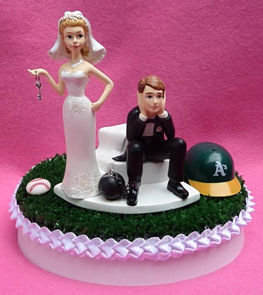 Wedding Cake Topper - Oakland A's Baseball Themed Key Athletics