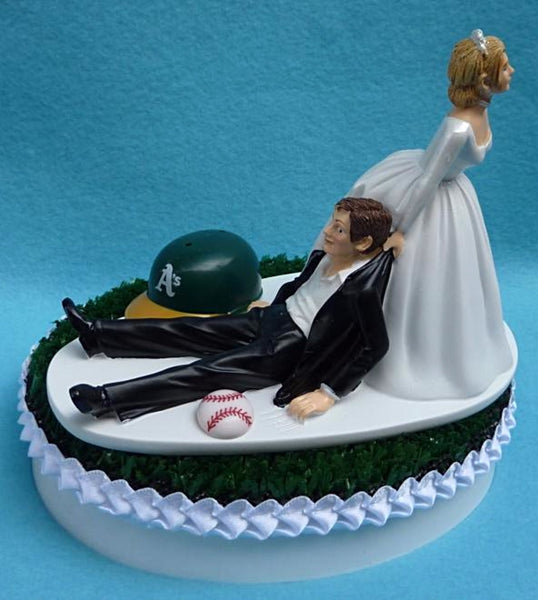 Oakland A's wedding cake topper Athletics MLB baseball bride drags groom humorous funny sports fans reception