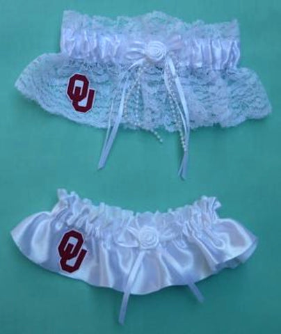 University of Oklahoma wedding garter set Sooners OU bridal garters reception fans Fun Wedding Things