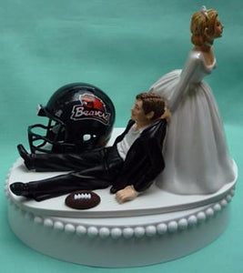 Oregon St. University wedding cake topper OSU Beavers football State humorous groom's cake top funny bride drags groom reception gift Fun Wedding Things
