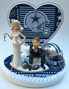 Dallas Cowboys wedding cake topper NFL football groom's cake top humorous funny bride dejected groom ball and chain key reception