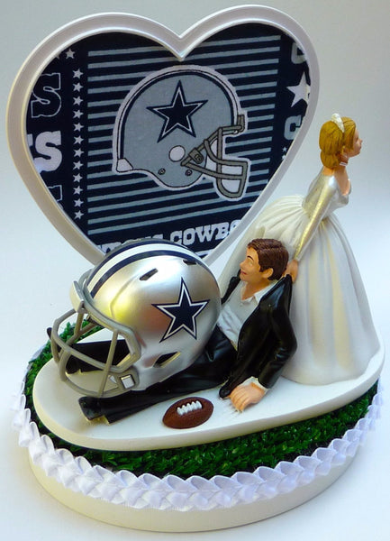 Wedding Cake Topper - Dallas Cowboys Football Themed (Blue Fabric on Heart)