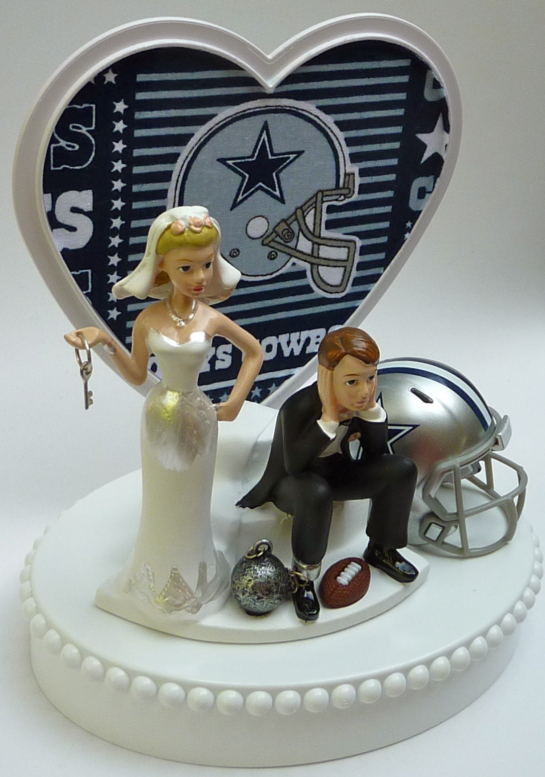 Wedding Cake Topper - Dallas Cowboys Football Themed Key (Blue Fabric on Heart)
