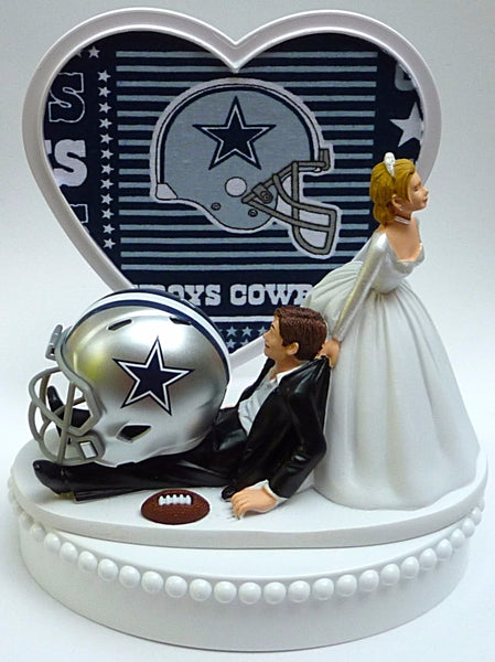 Dallas Cowboys cake topper wedding NFL groom's top fun sports fans reception football humorous funny