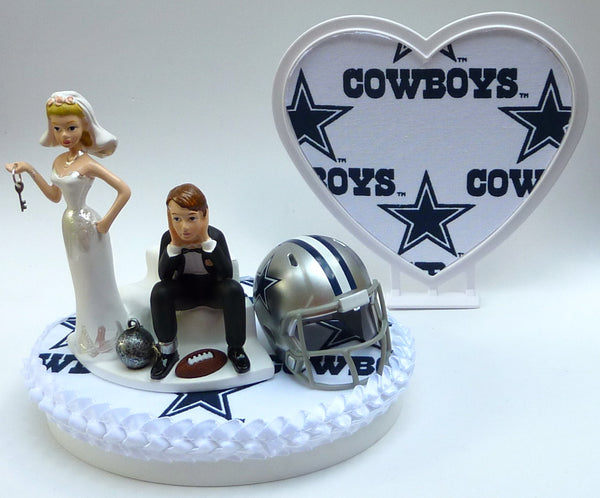 Wedding Cake Topper - Dallas Cowboys Football Themed Key (White Fabric on Heart)