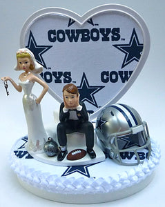 Dallas Cowboys cake topper wedding NFL football sports fans fun bride dejected groom reception humor