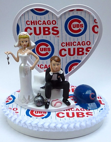 Chicago Cubs cake topper wedding baseball MLB sports fans bride groom's cake top humorous key ball chain helmet funny Fun Wedding Things reception gift item idea heart background