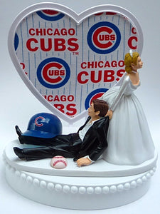 Chicago Cubs wedding cake topper MLB baseball sports fans fun bride dragging groom humorous funny reception