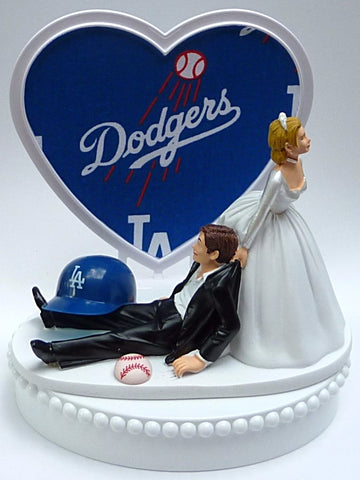 Los Angeles Dodgers wedding cake topper L.A. LA MLB baseball sports fans fun bride drags groom humorous funny unique reception gift