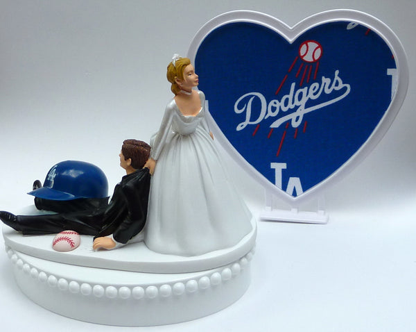 Wedding Cake Topper - Los Angeles Dodgers Baseball Themed L.A. Blue