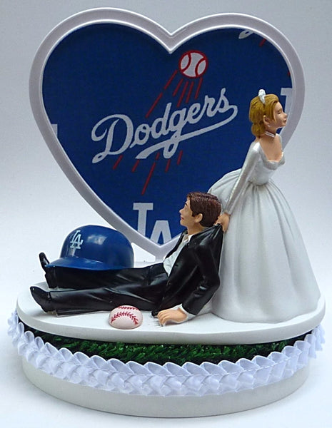 L.A. Dodgers wedding cake topper Los Angeles baseball fans MLB sports fun reception gift item idea humorous funny