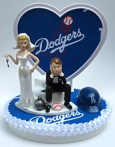 LA Dodgers wedding cake topper groom's cake top Los Angeles MLB baseball humorous funny bride ball chain key heart background unique marriage gift