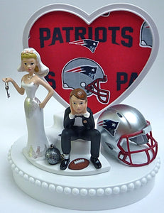 New England Patriots wedding cake topper NFL football ball and chain key dejected groom funny