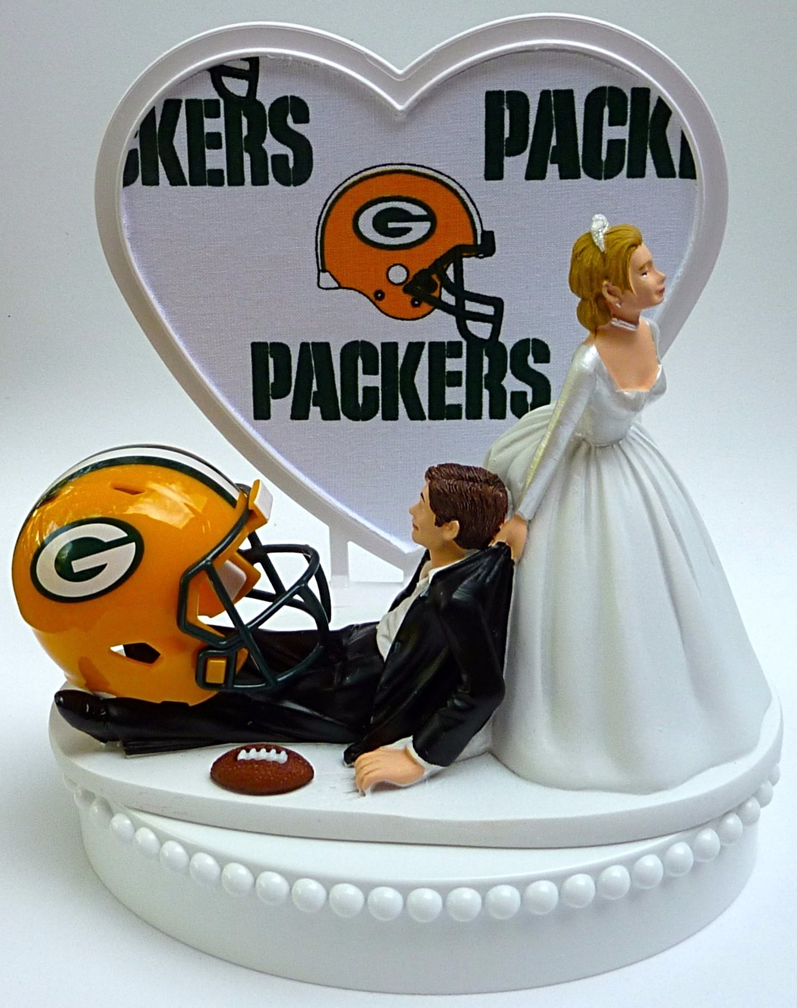 Green Bay Packers wedding cake topper sports fan fun FunWeddingThings.com reception football NFL cheese