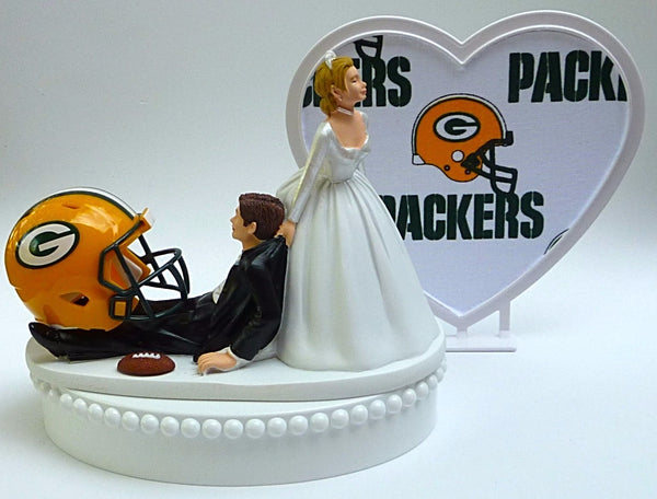 Wedding Cake Topper - Green Bay Packers Football Themed w/Cheesehead