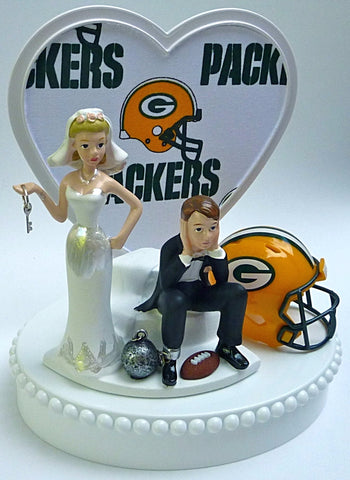 Green Bay Packers cake topper wedding Cheesehead NFL football humorous funny ball and chain bride groom