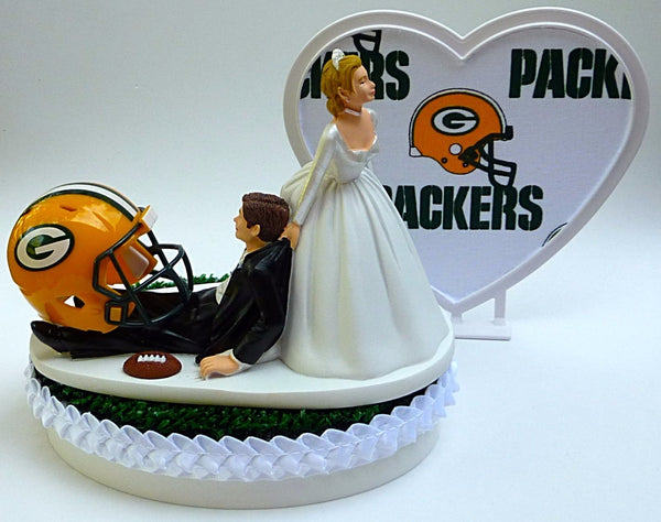 Wedding cake topper Green Bay Packers themed NFL football sports fans GB bride groom