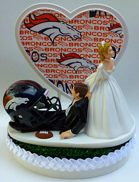 Denver Broncos wedding cake topper NFL football groom's cake top