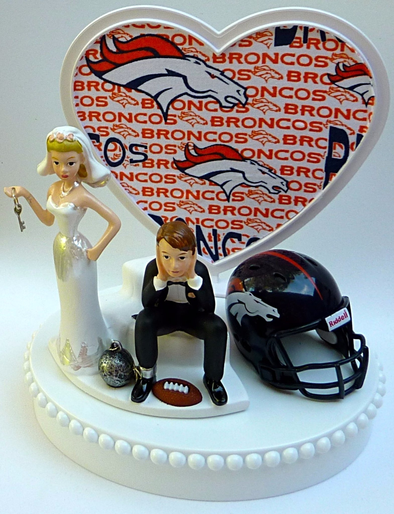 Denver Broncos wedding cake topper ball and chain humorous bride groom Turf topper reception humor