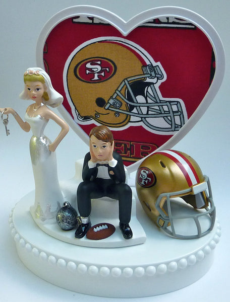 Wedding Cake Topper - San Francisco 49ers Football Themed Key Sf