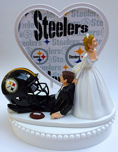 Pittsburgh Steelers cake topper wedding football NFL bride dragging groom humorous funny FunWeddingThings.com