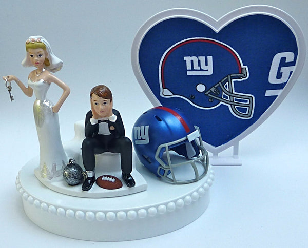 New York Giants wedding cake topper NY NFL football key bride dejected groom reception gift idea