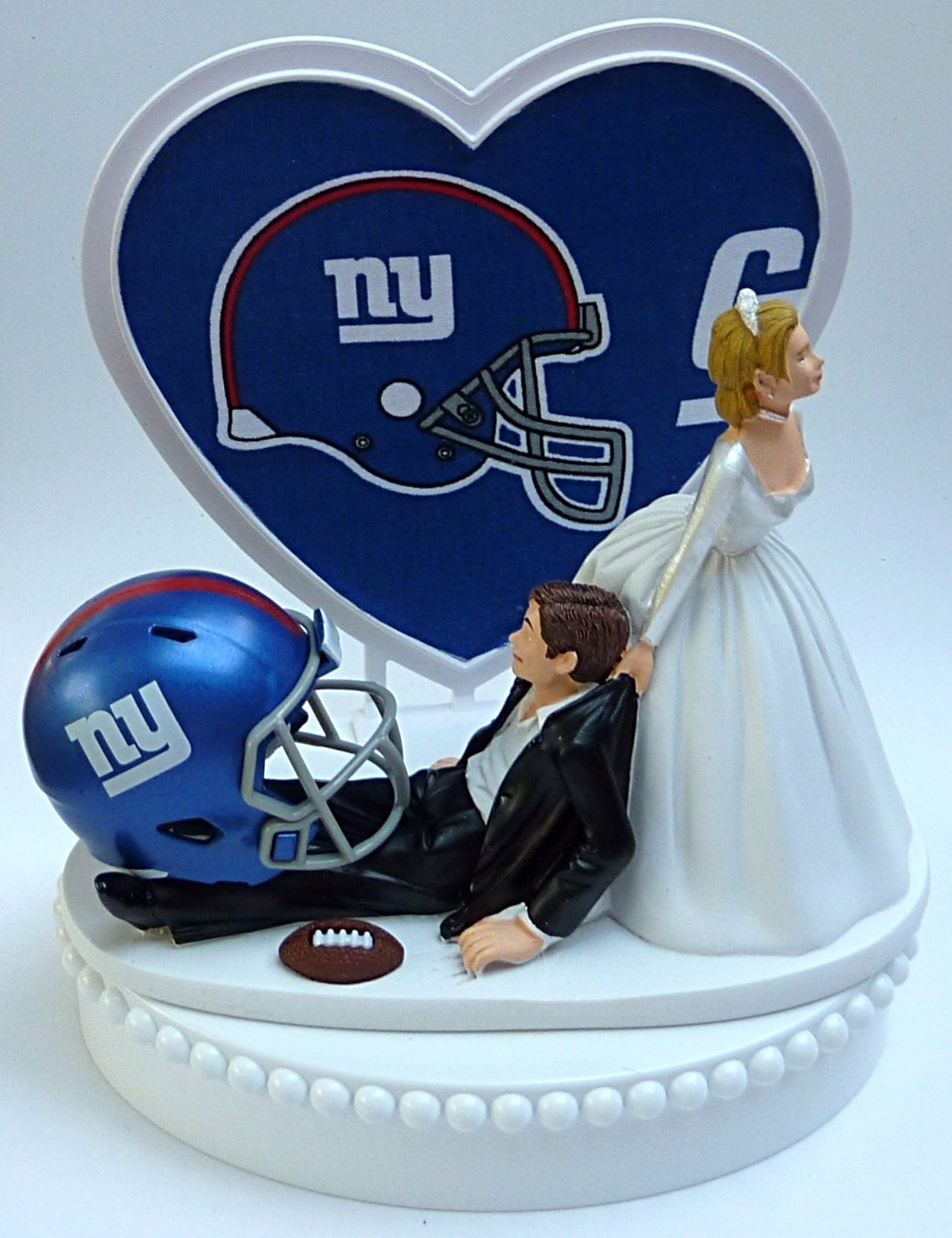 New York Giants wedding cake topper NY football NFL fans bride dragging groom humorous funny