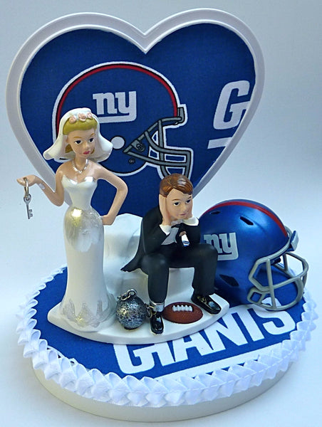 New York Giants cake topper NY football groom's cake top wedding reception gift idea item humorous funny FunWeddingThings.com