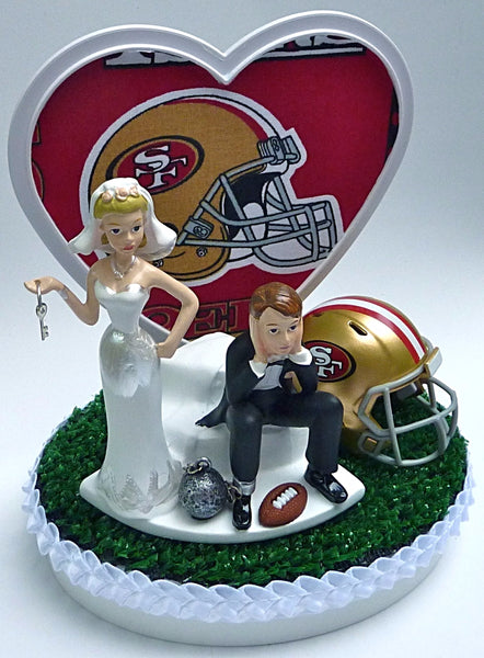 San Francisco 49ers wedding cake topper NFL football sports fans reception bride groom dejected gift item idea
