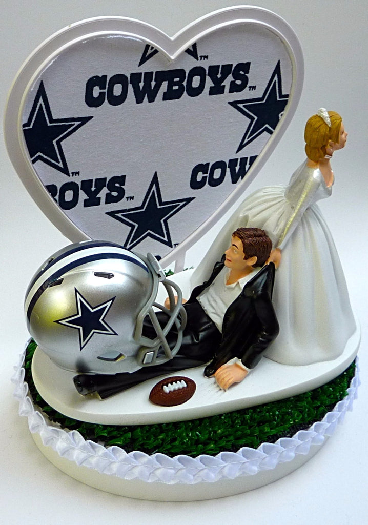 Groovy Wedding Cake Topper Dallas Cowboys Football Themed White Fabric Personalised Birthday Cards Paralily Jamesorg