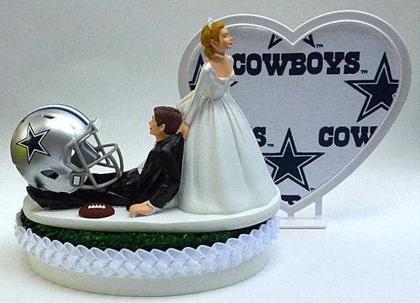 Wedding Cake Topper - Dallas Cowboys Football Themed (White Fabric on Heart)