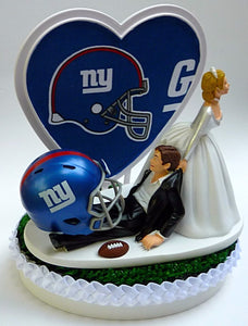 New York Giants wedding cake topper football NY NFL sports fans reception bride groom's cake top funny humor
