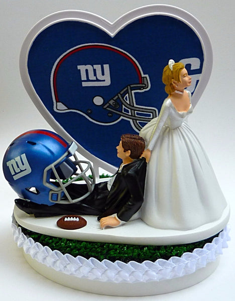 New York Giants cake topper wedding NY football NFL sports fans fun reception humorous funny FunWeddingThings.com