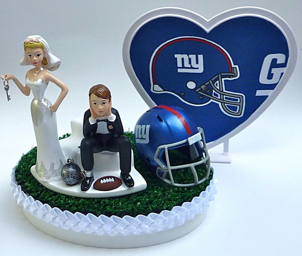 NY Giants wedding cake topper football New York NFL sports fans fun bride groom humorous funny