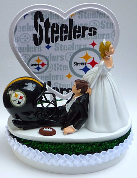 Wedding Cake Topper - Pittsburgh Steelers Football Themed