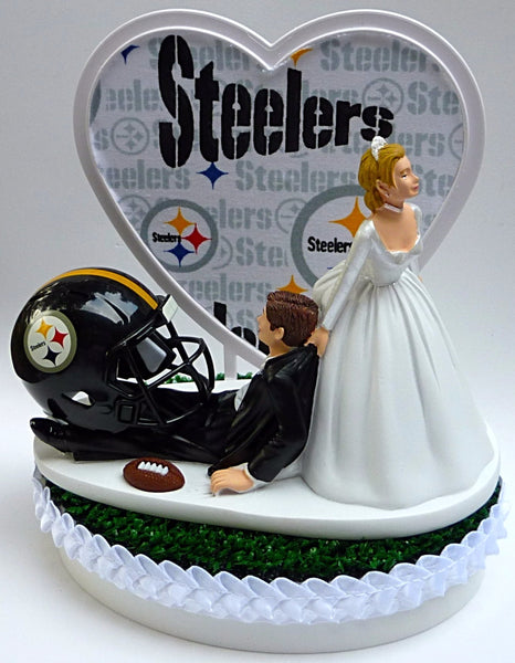 Pittsburgh Steelers wedding cake topper NFL football bride dragging groom humorous funny