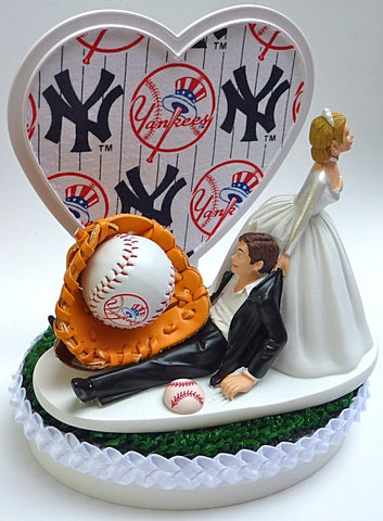 New York Yankees wedding cake topper NY baseball bride dragging groom humorous Yanks MLB sports fans fun gift item idea marriage