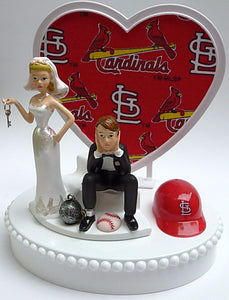 Saint Louis Cardinals wedding cake topper baseball MLB St. sports fans bride groom humorous key ball chain heart background unique original funny Fun Wedding Things reception gift item idea