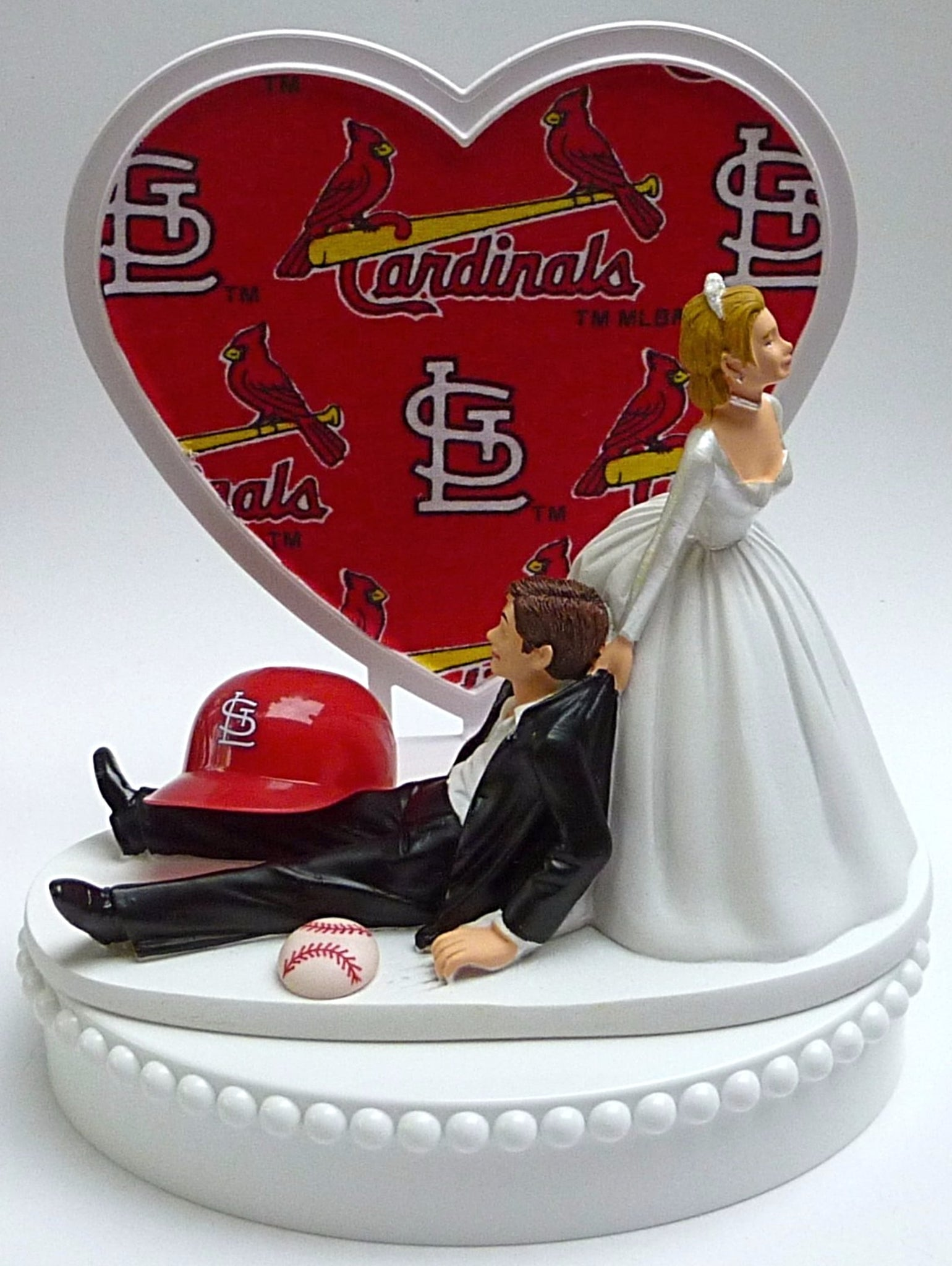 St. Louis Cardinals wedding cake topper Cards Saint MLB baseball sports fans fun bride dragging groom humorous unique original funny